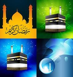Collection of attractive background of ramadan vector