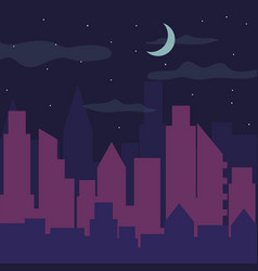 color night city panorama silhouette vector image