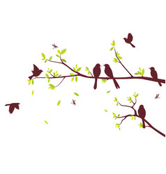 Colorful birds sitting on beautiful trees isolated vector