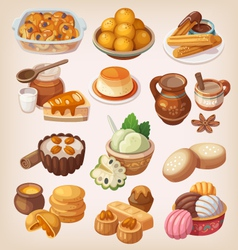 Colorful traditional mexican desserts vector