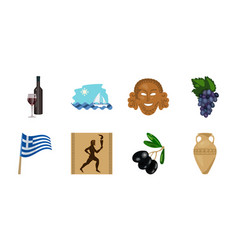 country greece icons in set collection for design vector image