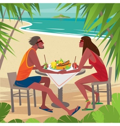 Couple at the table eating breakfast on the beach vector