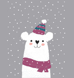 cute white bear in a pink hat with a white tassel vector image