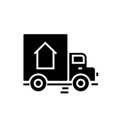 delivery truck icon black vector image