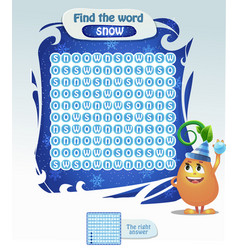 Find the word snow christmas game vector