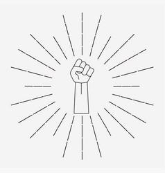 Fist with sunbursts vector