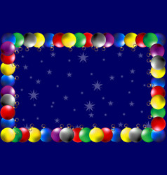 frame - colorful christmas balls vector image