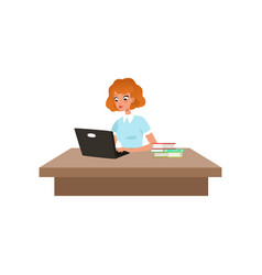 Girl sitting at the desk and studying using her vector