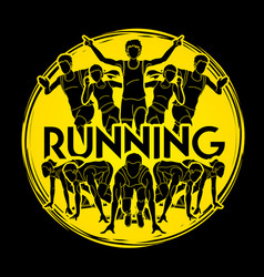 Group of people running with text running marathon vector