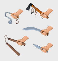 hand holding different cold weapons set vector image