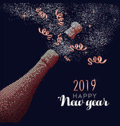Happy new year 2019 champagne copper card vector