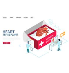 heart transplant website landing page vector image