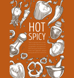 Hot spice pepper powder and peas paprika and chili vector