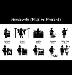 Housewife past versus present lifestyle stick vector