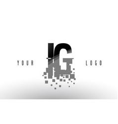 Ig i q pixel letter logo with digital shattered vector