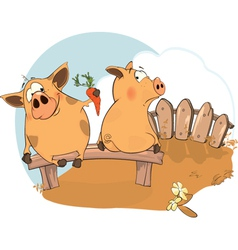 Lets be friends a story about two pigs vector