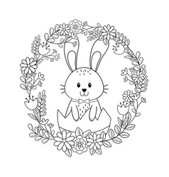 little rabbit with egg painted and flowers vector image