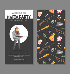 mafia party card template with gangsters objects vector image