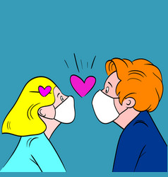 Man and woman wearing antivirus mask love vector