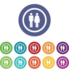 Man woman signs colored set vector image