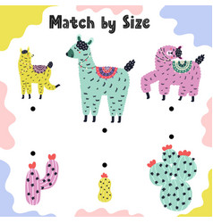 match size llamas to cactuses activity page vector image