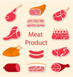 meat products flat vector image vector image