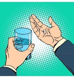 Medication health pills in hand vector