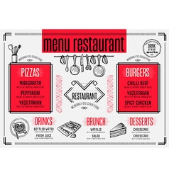 menu restaurant food template placemat vector image
