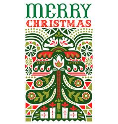 merry christmas vintage folk art pine tree card vector image