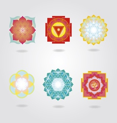 Mini mandalas and Yantra set vector image