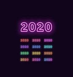 Neon digit 2020 year number glowing date text vector