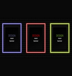 neon frame rectangle banner realistic neon vector image