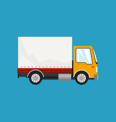 Orange small truck on blue background vector