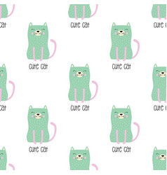 pattern cute cat in scandinavian vector image