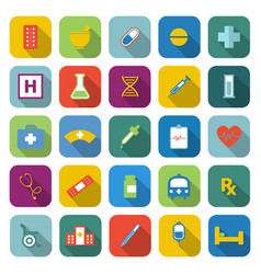 pharmacy color icons with long shadow vector image