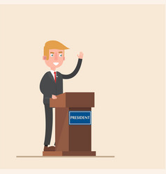 president stands on the podium forty-five vector image