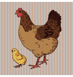Realistic broody chicken and baby chick side view vector