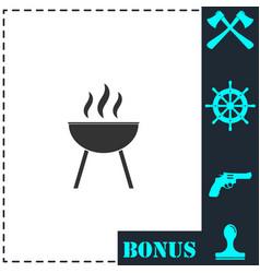 roaster bbq icon flat vector image