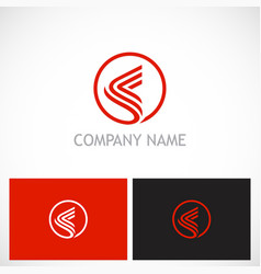 round abstract line company logo vector image