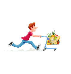 Running boy with product cart vector