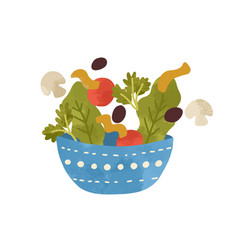 salad bowl with vegetables and greens isolated on vector image