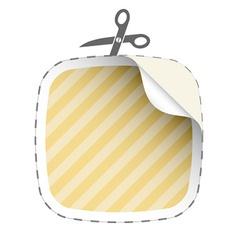 scissors cutting striped sticker vector image