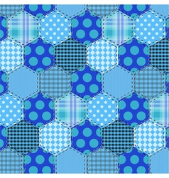 Seamless pattern patchwork blue fabrics hexagon vector