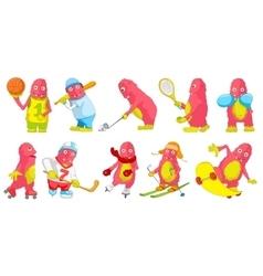 Set of pink monsters sport cartoon vector