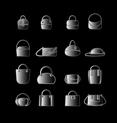 set of white icons of womens bags vector image