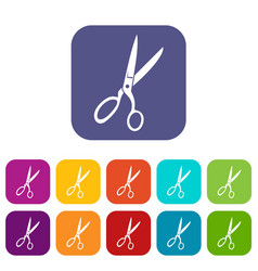 Sewing scissors icons set vector
