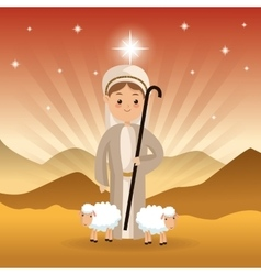 Shepherd and sheeps icon Merry Christmas design vector
