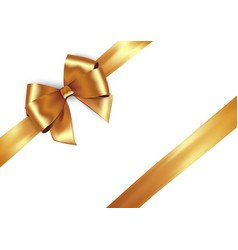 shiny golden satin ribbon on white background vector image