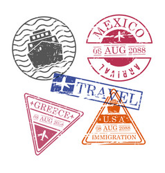 ship and airplane travel stamps mexico greece usa vector image