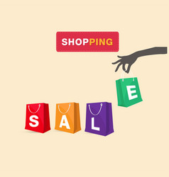 shopping hand hold shopping sale bag background ve vector image